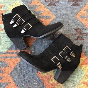 Crown Vintage Black Booties w/Buckle Strap Accents